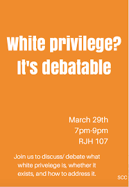 "tcu students of color coalition holds white privilege discussion  the discussion attended by four students began by discussing peggy mcintosh s essay titled ""white privilege unpacking the invisible knapsack"""