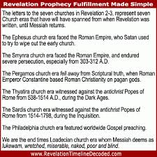 Letters To The Seven Churches Chart The Seven Churches Of Revelation 2 And 3 Are 7 Historical