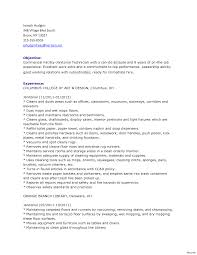 Janitor Resume Resumes Objective Examples Custodian Samples School