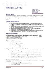 Exercise Science Resume Examples Resume Example Exercise Movement Science Education