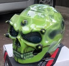 custom motorcycle jet helmet skull skeleton rider green visor dot