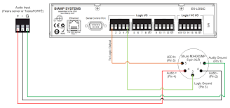 connecting a shure mx400smp to an ex logic biamp systems led control