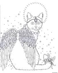 Coloriage Adulte Chat Ange Dessin