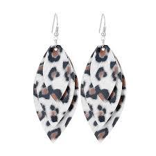 2019 oathyan leaves leopard leather earrings for women fashion water dangle earring layers statement jewelry drop from fujinplea 20 98 dhgate