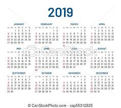 Simple Wall Calendar 2019 Year Flat Isolated