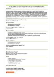 Industrial Engineer Resume Sample Industrial Engineering Technician Resume