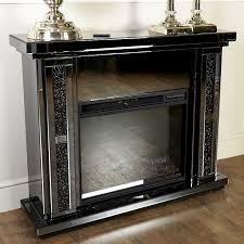 diamond glitz noir smoked mirrored electric fireplace surround