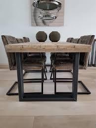 Steigerhouten Eettafel Met Stalen U Frame Stalen Kokers 50x100mm