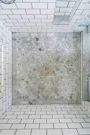 bathroom subway tile floor. Beautiful Hexagon Tile In Bathroom Transitional With Subway Shower Next To Floor Alongside Border And Marble