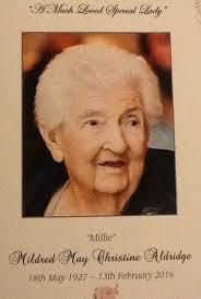 Mildred May Christine Aldridge (Lynch) (1927 - 2016) - Genealogy