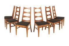 mid century walnut ladder back style dining chairs on chairish