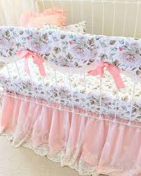 blush pink and white girls fl crib set