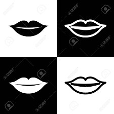 Lips Sign Illustration Vector Black And White Icons And Line