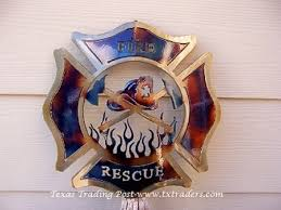 fire and rescue firefighter emblem metal art on maltese cross firefighter metal wall art with fire and rescue kneeling firefighter metal art