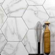 calacatta white gold glass hexagon decorative wall