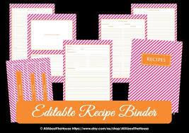 Recipe Binder Templates Editable Recipe Binder Printables Recipe Sheet Recipe Card