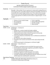 Bartending Resume Templates Free Resume Templates 2018