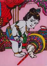 glass painting krishna