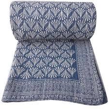 Hand Block Print Cotton Kantha Quilt, Size: Queen/Double (90x108 ... & Hand Block Print Cotton Kantha Quilt, Size: Queen/Double (90x108 Adamdwight.com