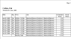 timesheet schedule scheduling reports volunteer software