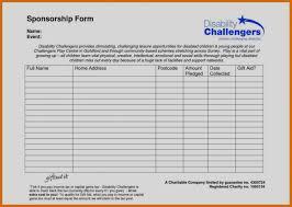 Sponsorship Form Template Pals Pinterest 86288725649 Free