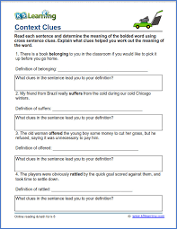 Grade 3 vocabulary worksheet - context clues pdf | K5 Learning