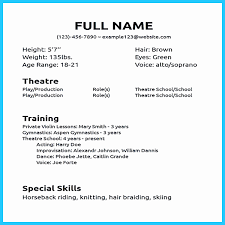 Acting Resume Template Actor Resume Template Fresh Acting Resume Template Word Resume 32