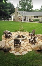 Stepping stones out to the fire pit in the far corner so the smoke doesn'   Cozy BackyardBackyard Fire PitsBackyard Patio DesignsSand ...