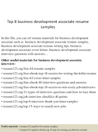 Associate Resume Top 8 Business Development Associate Resume Samples
