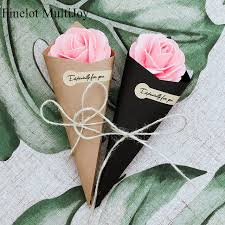 How To Make Paper Cones For Flower Petals 50 Pcs Wedding Favors Diy Brown Black Kraft Paper Cones Candy