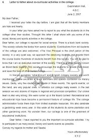 Online Taleem Letter To Father About Co Curricular Activities In