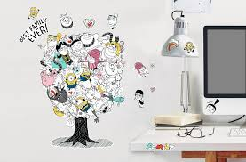 minions deable 3 family tree wall sticker multi