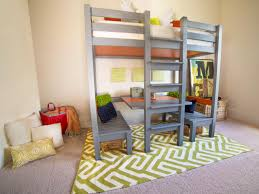Bunk bed with office underneath Double How To Build Loft Bed With Builtin Table And Benches Hgtvcom How To Build Loft Bed With Builtin Table And Benches Hgtv