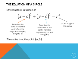 centre and radius of a circle 3 the