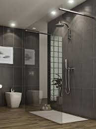 Bathroom:Mosaic Tile Wall Shower With White Bathtub Oriental Shower With  Wooden Flooring And Single