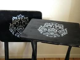 wooden tv trays with stand tray made beautiful painted and stenciled wooden tv tray table set