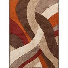 ... 5 x 7 Medium Brown, Orange & Red Area Rug - Alpha