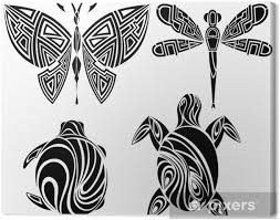 Obraz Tetování Design Motýla želva Vážka Na Plátně