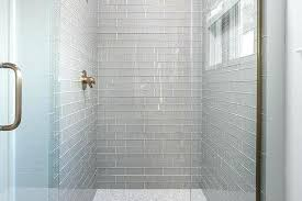 glass shower tile contemporary walk in with gray subway tiles and white marble grid pertaining to