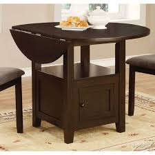 stockton charcoal round drop leaf dining table with storage coaster 105391