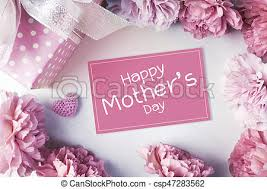Paper Carnation Flower Happy Mothers Day Message On Pink Paper And Carnation Flowers And