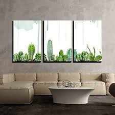 wall26 3 piece canvas wall art various cacti on watercolor background modern home on cactus wall art framed with amazon wall26 3 piece canvas wall art various cacti on