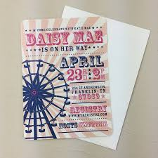 Do It Yourself Baby Shower Invitation Templates Carnival Baby Shower Invitation With Blank Envelope Ferris Wheel Girl Baby Shower Invitation Diy Printable Template
