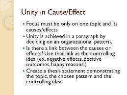 cause effect essays purpose of this rhetorical pattern to  unity in cause effect focus must be only on one topic and its causes