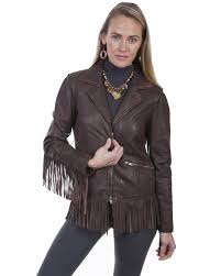 zoomed image leatherwear by scully women s fringe leather jacket dark brown hi res