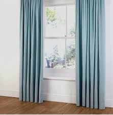 B&Q FAUX SUEDE RING TOP LINED CURTAINS in DUCK EGG/LIGHT/BABY BLUE 54