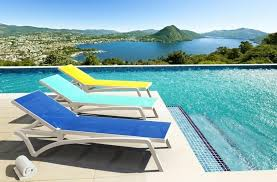 colorful pool chaise lounge design with mesh seating