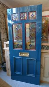 entry door stained glass replacement. beautiful blue victorian style stained glass front door. entry door replacement