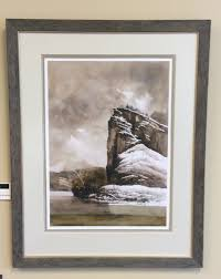 castle rock walt hewes signed numbered limited edition print triple matted non glare glass outside frame dimensions 23x29 375