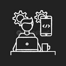 mobile app developer chalk white icon